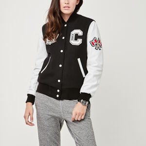 Roots-Leather Women's Award Jackets-Womens Gretzky Jacket-Black-A
