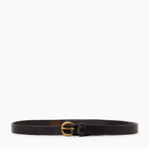 Roots-Leather Leather Accessories-Roots Womens Skinny Belt-Black-A