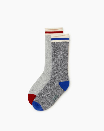 Roots-Sale Boys-Kid Cabin Roll Sock 2 Pack-Blue Mix-A