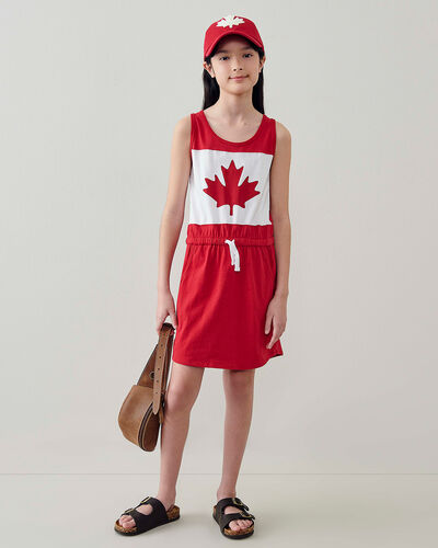 Roots-Kids Canada Collection-Girls Blazon Dress-Sage Red-A
