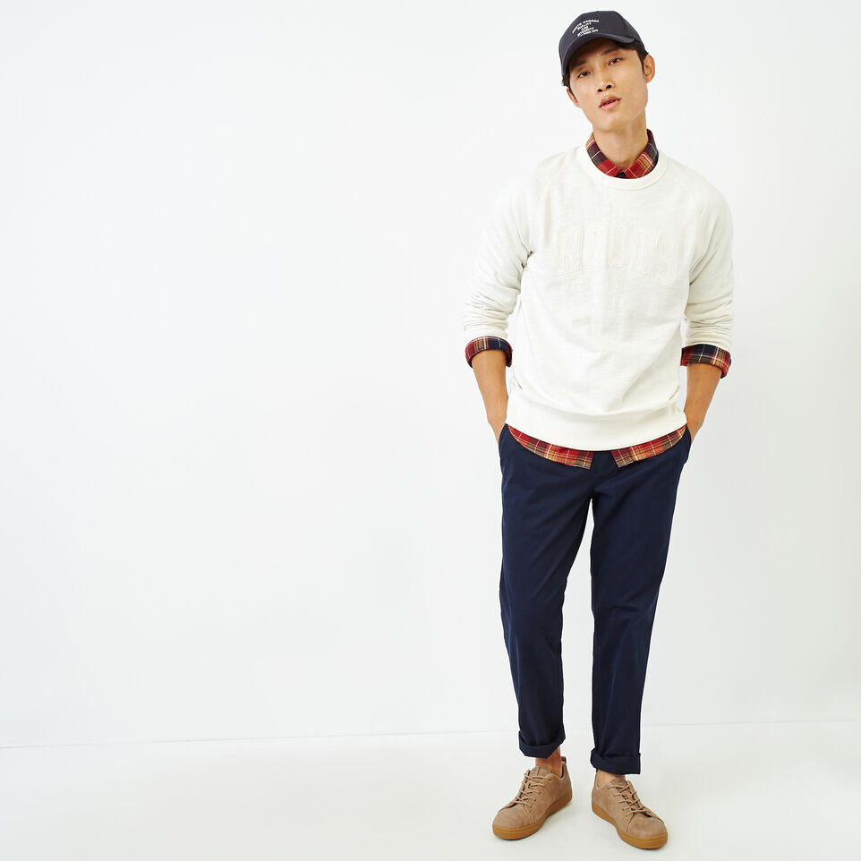 Roots-Men Our Favourite New Arrivals-50s Freedom Sleeve Crew Sweatshirt-Ivory-B