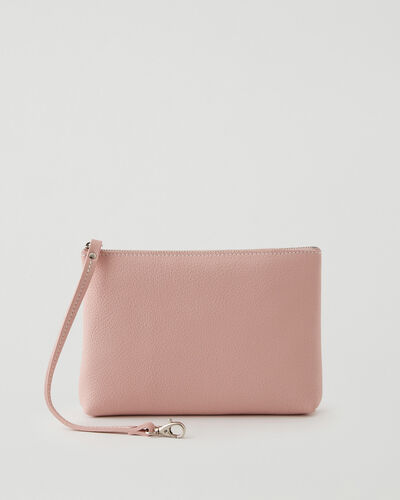 Roots-Leather Tech & Travel-Large Wristlet Cervino-Pink Pearl-A