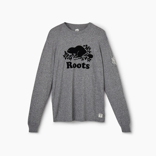 Roots-New For May City Collection-Banff Long Sleeve T-Shirt - Mens-Salt & Pepper-A