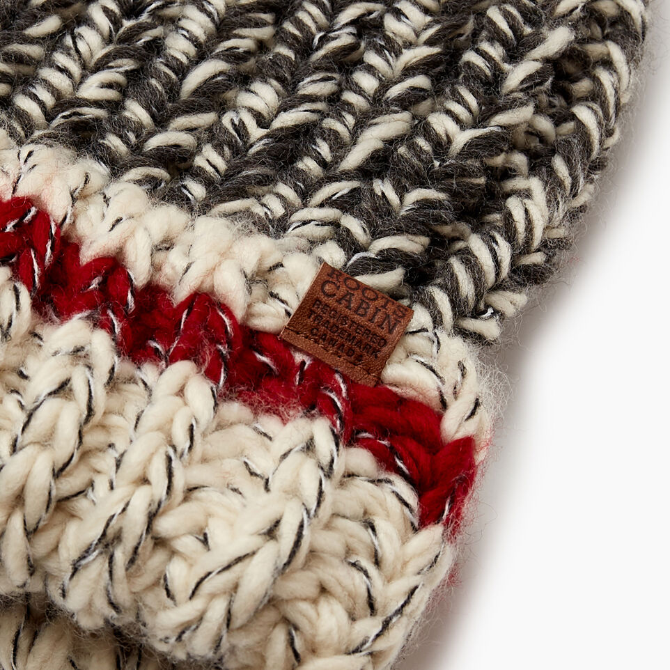 Roots-Women Hats-Chunky Cabin Pom Pom Toque-Grey Oat Mix-E