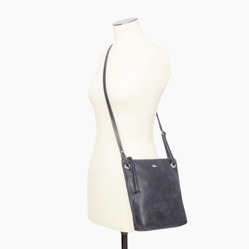 Roots-Leather  Handcrafted By Us Handbags-Festival Bag Tribe-Dark Navy-B