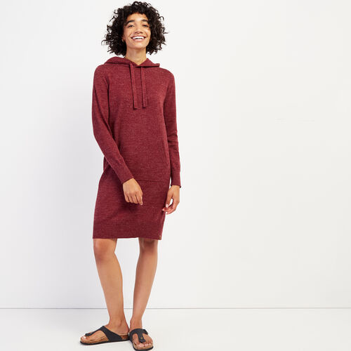 Roots-Women Dresses & Jumpsuits-Hooded Sweater Dress-Crimson Mix-A