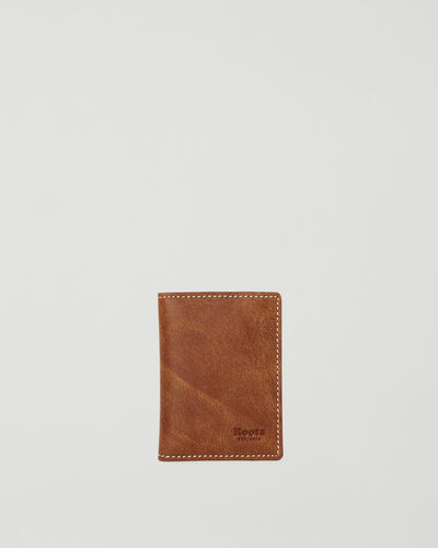 Roots-Leather Wallets-Card Case With Id Tribe-Natural-A
