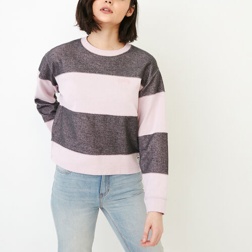 Roots-Soldes Femmes-Chandail Rayures Rugby-Brume Rose-A