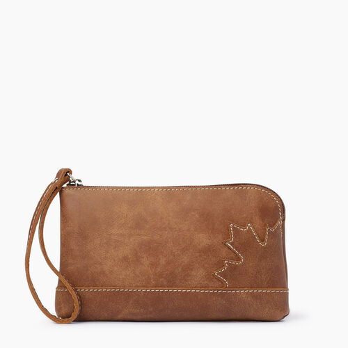 Roots-Women Leather Accessories-Maple Leaf Zip Pouch-Natural-A