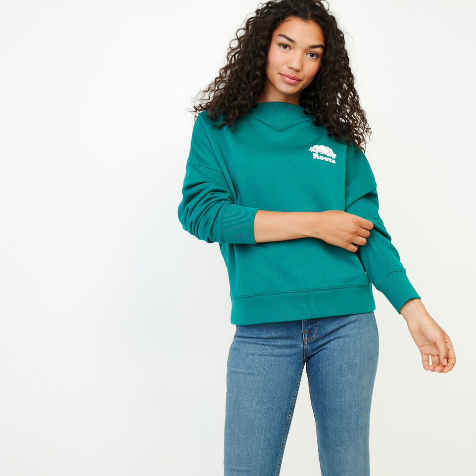 Roots-Women Our Favourite New Arrivals-Chevron Crew Sweatshirt-Teal Green-A