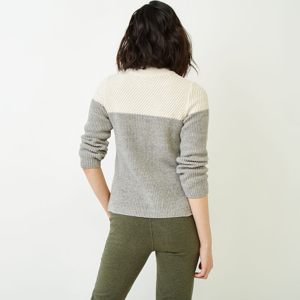 Roots-Women Sweaters & Cardigans-Arbutus Twill Sweater-Salt & Pepper-D