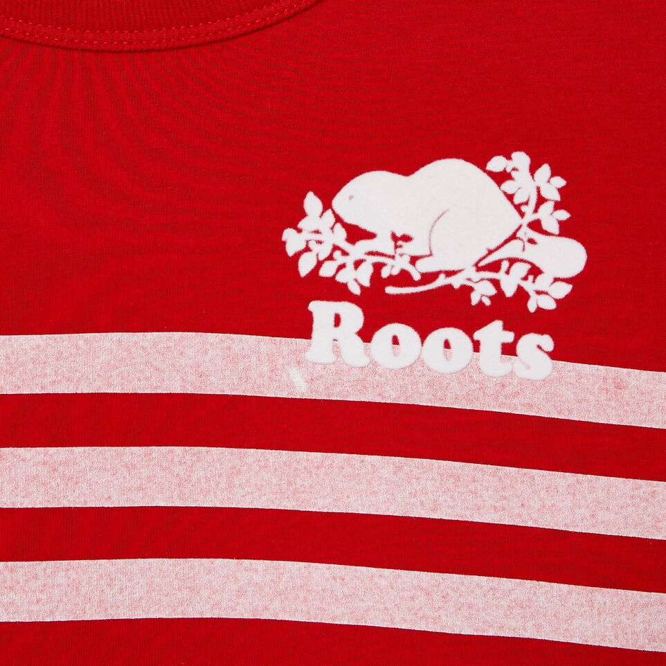 Roots-New For June Kids-Boys Cooper Beach Stripe T-shirt-Racing Red-D