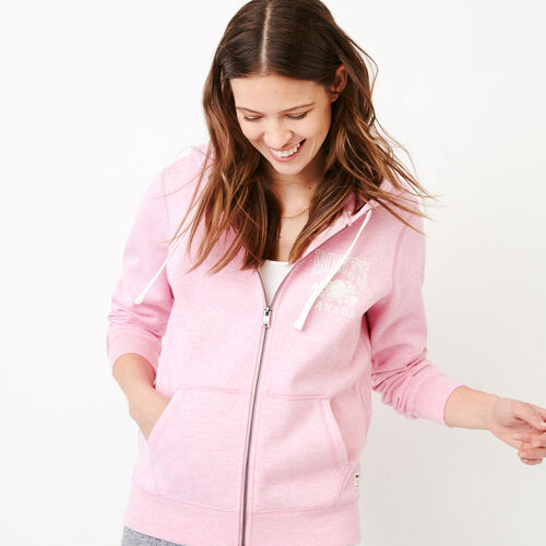 Roots-Women Bestsellers-Classic Full Zip Hoody-Fuchsia Mix-A