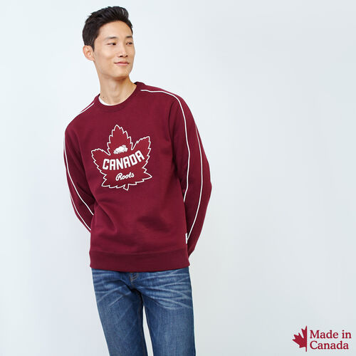 Roots-Men Tops-Mens Canada Crew Sweatshirt-Northern Red-A