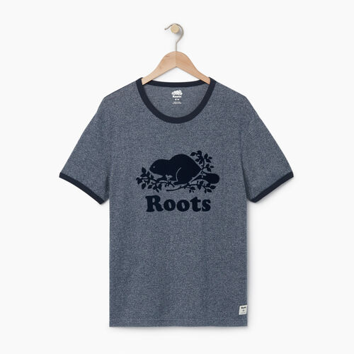 Roots-Men Graphic T-shirts-Mens Cooper Ringer T-shirt-Navy Blazer Pepper-A