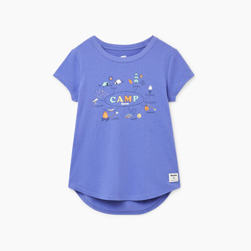 Roots-Kids T-shirts-Girls Roots Camp T-shirt-Violet Storm-A