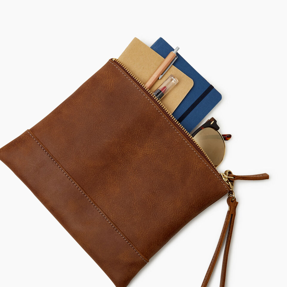 Roots-Leather Categories-Junction Wristlet-Natural-E