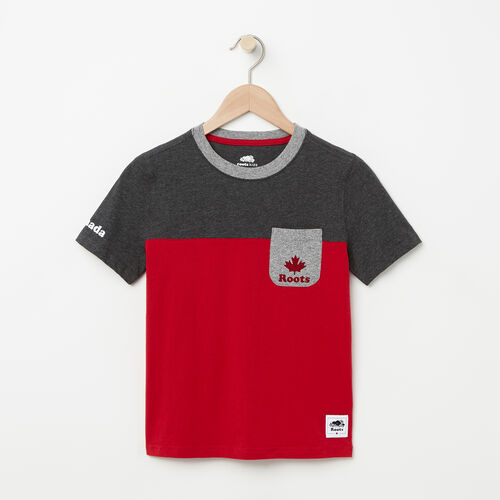 Roots-Kids Boys-Boys Canada Colourblock T-Shirt-Sage Red-A