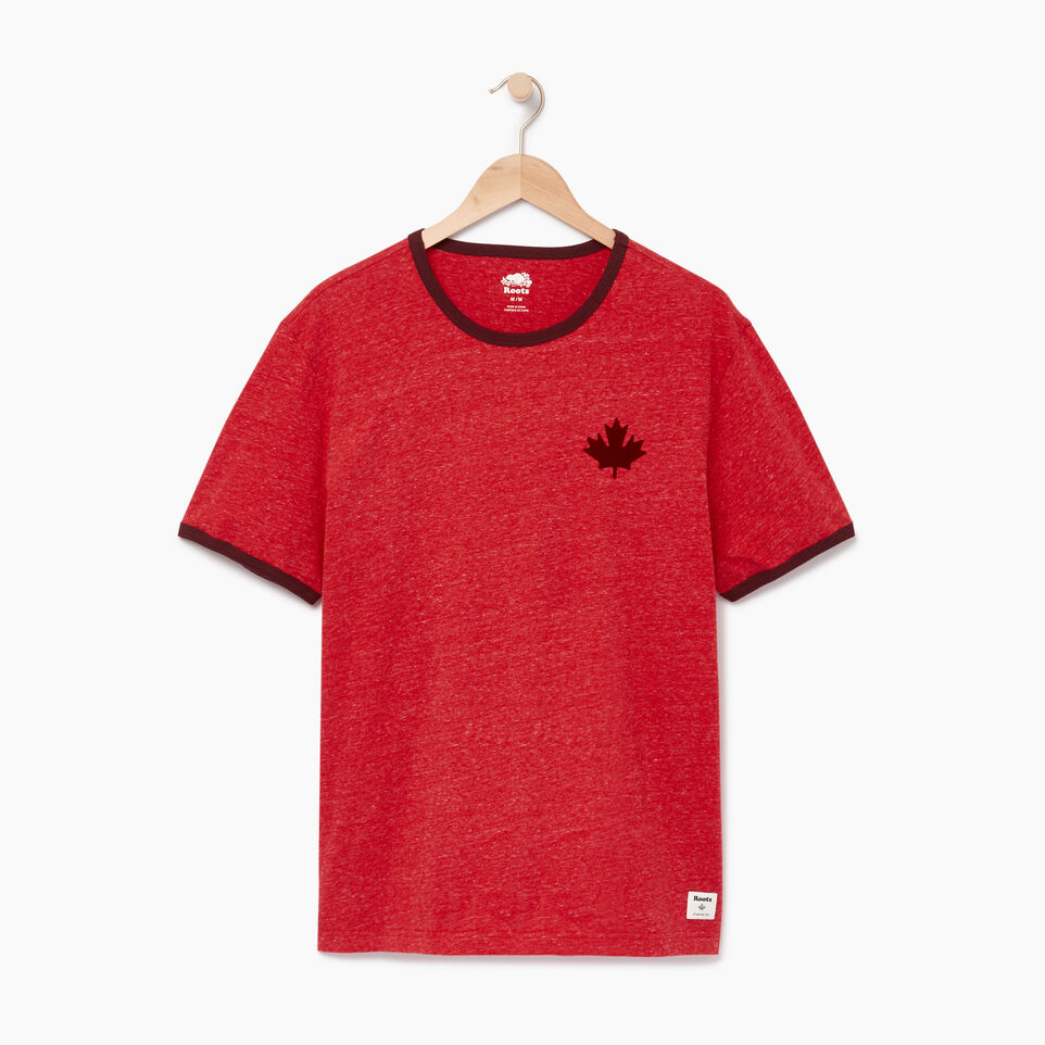 Roots-Men Graphic T-shirts-Mens Roots Cabin Ringer T-shirt-Sage Red Mix-A