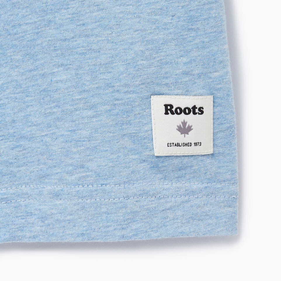 Roots-New For August Men-Mens Roots Peak T-shirt-Baby Blue Pepper-C