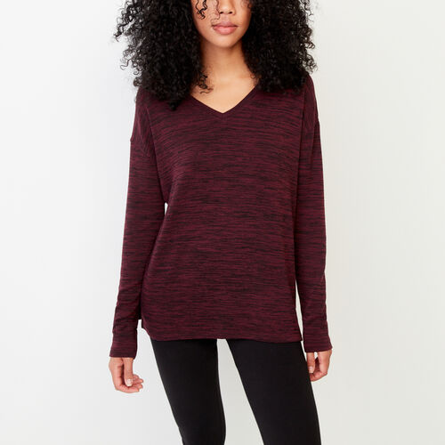 Roots-Women Long Sleeve Tops-Melissa V Neck Top-Cabernet Mix-A