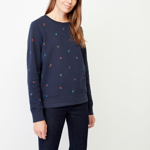 Roots-Winter Sale Women-Skier Crew Sweatshirt-Navy Blazer-A