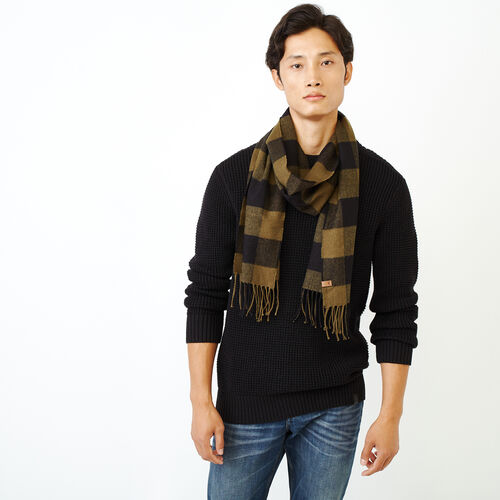 Roots-Men Categories-Roots Park Plaid Scarf-Dark Olive Green-A