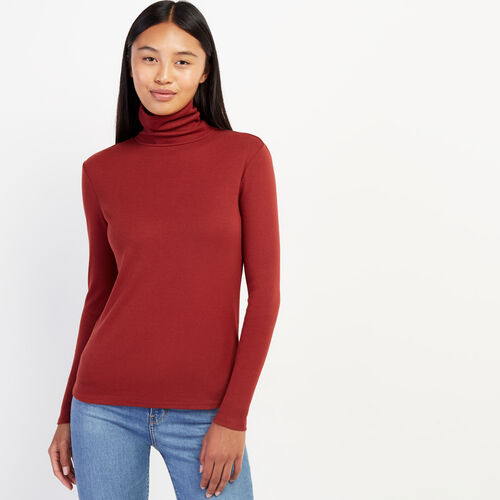 Roots-Women Long Sleeve Tops-Essential Turtleneck Top-Russet Brown-A
