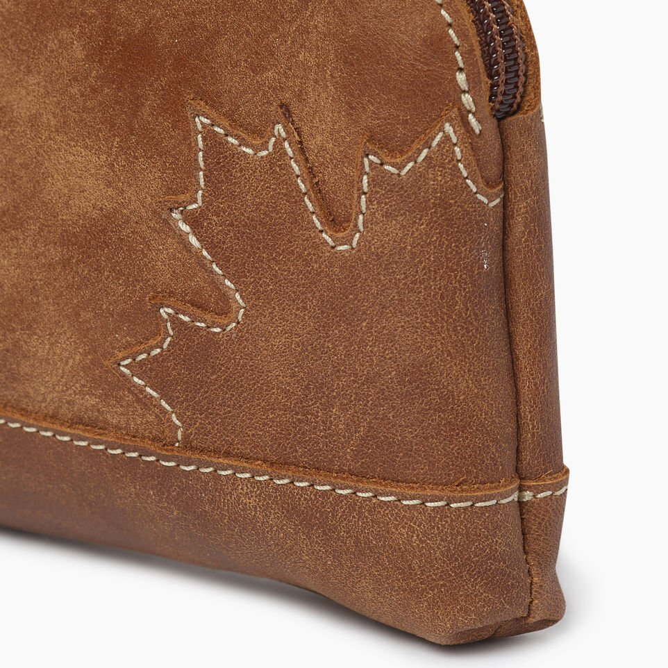 Roots-Leather Leather Accessories-Maple Leaf Zip Pouch-Natural-D