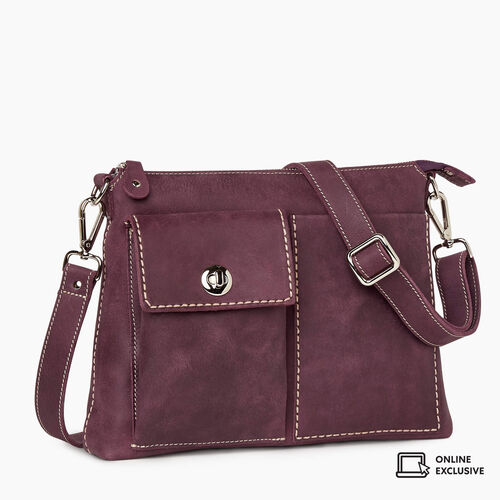 Roots-Leather Crossbody-The Villager Tribe-Deep Purple-A
