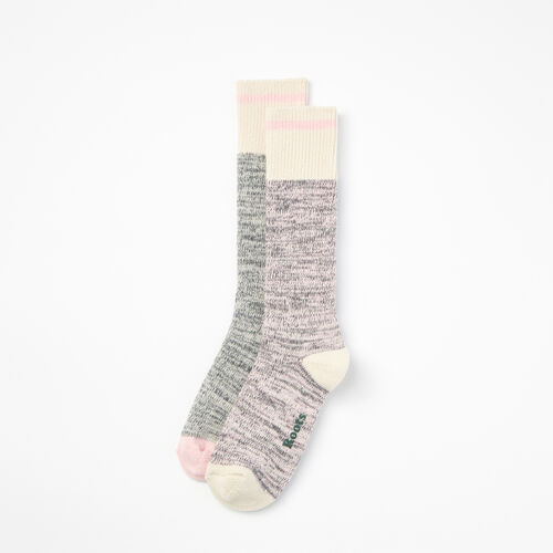 Roots-Women Socks-Womens Cotton Cabin Sock 2 Pack-Pink Mix-A