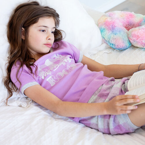 Roots-Kids New Arrivals-Girls Plaid PJ Set-African Violet-A