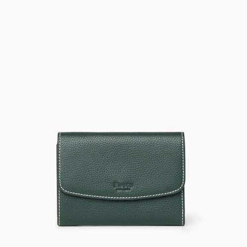 Roots-Women Wallets-Liberty Trifold Wallet Cervino-Forest Green-A