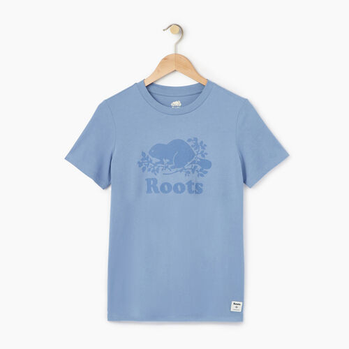 Roots-Women Graphic T-shirts-Womens Cooper Beaver T-shirt-Stone Blue-A