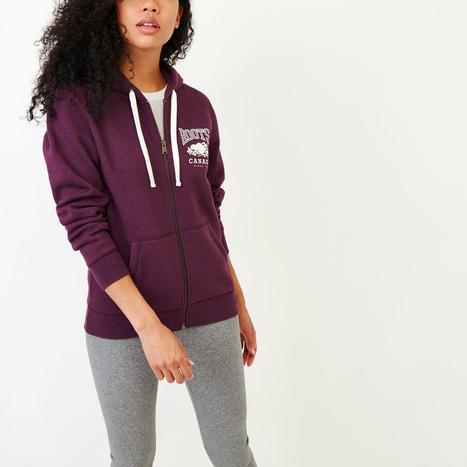 Roots-Women Clothing-Classic Full Zip Hoody-Pickled Beet Mix-A