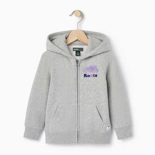 Roots-Kids Tops-Toddler Original Full Zip Hoody-Grey Mix-A