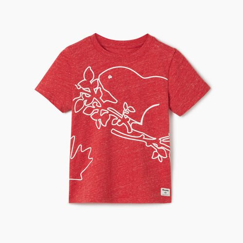 Roots-Kids New Arrivals-Toddler Super Cooper T-shirt-Sage Red Mix-A