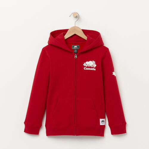 Roots-Kids Categories-Boys Canada Full Zip Hoody-Sage Red-A