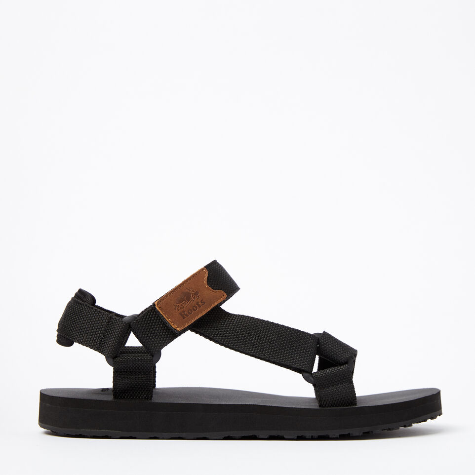 Roots-Clearance Footwear-Mens Tofino Sandal Web-Black-A