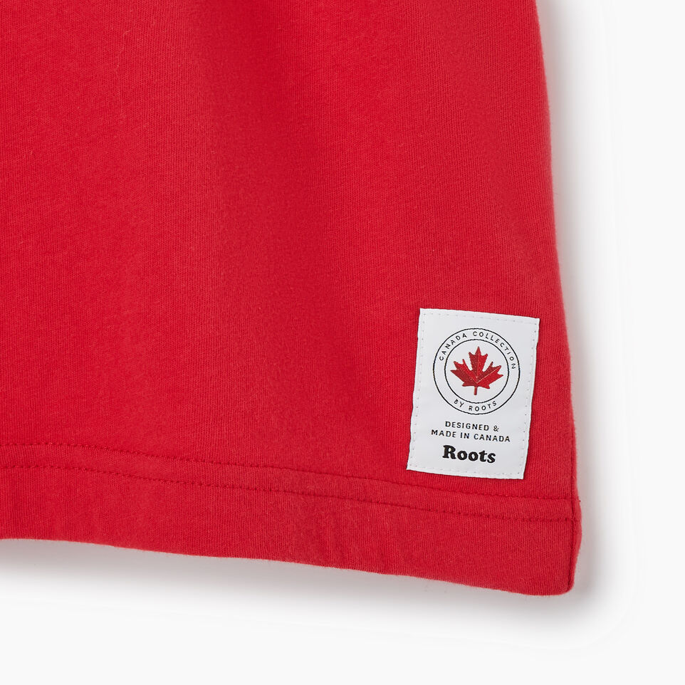 Roots-New For July Men-Mens Blazon T-shirt-Sage Red-D