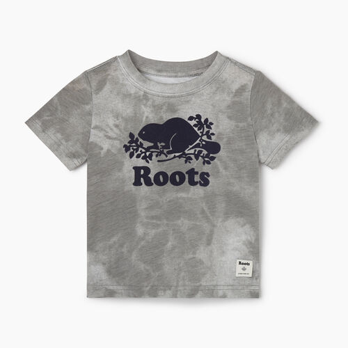 Roots-Kids T-shirts-Baby Cooper Beaver T-shirt-Charcoal-A