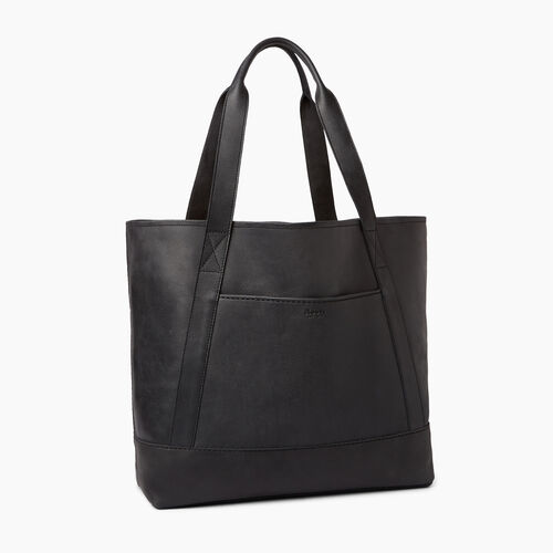 Roots-Leather  Handcrafted By Us Handbags-Muskoka Tote-Jet Black-A