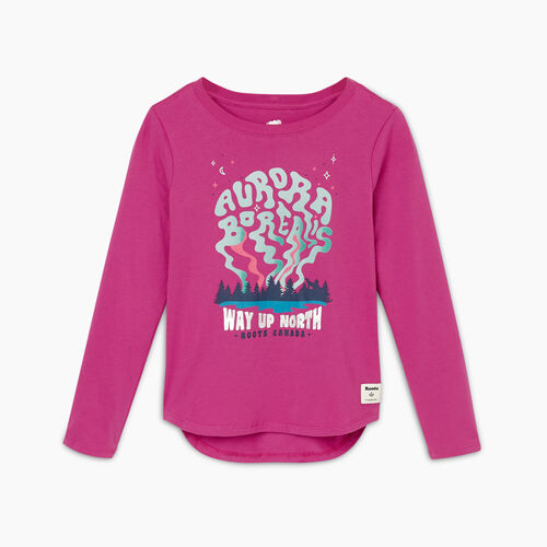 Roots-Kids Girls-Girls Roots Outdoors T-shirt-Purple Orchid-A