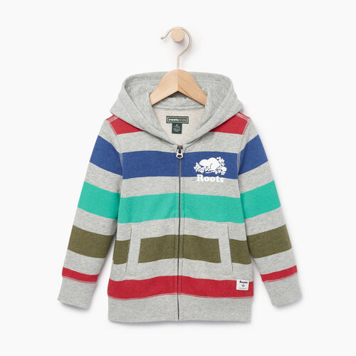 Roots-Kids Tops-Toddler Ombre Stripe Full Zip Hoody-Grey Mix-A