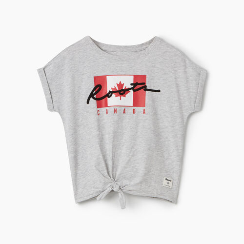 Roots-Kids Tops-Toddler Canada Flag Script T-shirt-Snowy Ice Mix-A