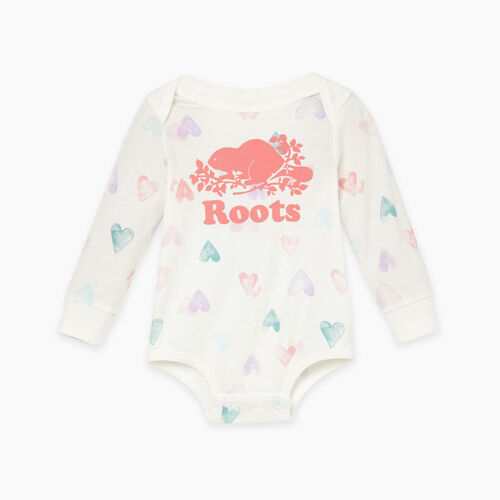 Roots-Kids Baby Girl-Baby Love Roots Bodysuit-Egret-A