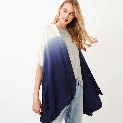 Roots-Women Scarves & Wraps-Tessa Dip Dyed Kimono-Ombre Blue-A