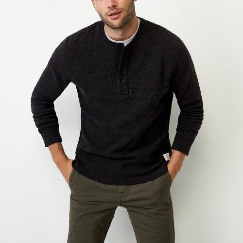 Roots-Men Tops-Heritage Killarney Henley-Black Pepper-A