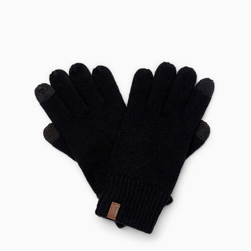 Roots-Men Our Favourite New Arrivals-Wool Texting Glove-Black-A