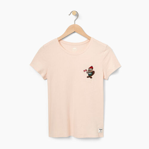 Roots-Women Graphic T-shirts-Womens Buddy Beaver  Slim T-shirt-Pink Cloud-A